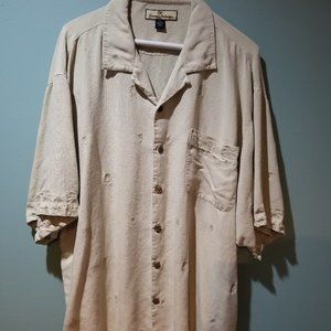 Tommy Baham Embroidered camp shirt silk size XL